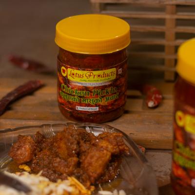 Homemade Chicken Pickle (Kukhurako Masuko Achar) (कुखुराको मासुको अचार ) - 200g - Lotus Products
