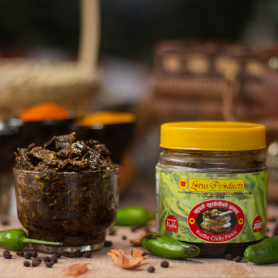 Homemade Kudke Chili Pickle (कुद्के खुर्सानी अचार) - 200g - Lotus Products