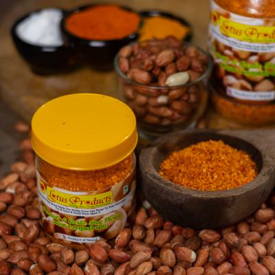 Homemade Peanuts and Garlic Dry Pickle (Badam ra Lasunko Chhaup) (बदाम र लसुनको छोप) - 100g - Lotus Products