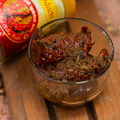 Homemade Stuffed Red Chili Pickle (मसला भरेको खुर्सानी अचार) - 200g - Lotus Products