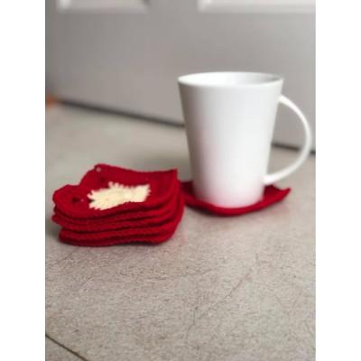 Square Handmade Woolen Coasters(pack of 6)