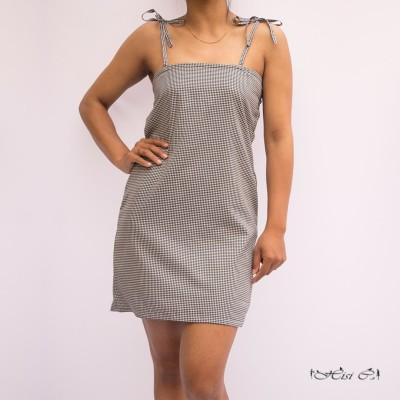 Check Tying Strapped Back Elastic Short Dress