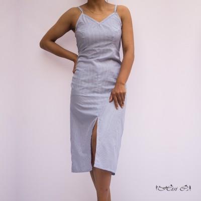 Stripe Strappy Back Tying Front Slit Dress
