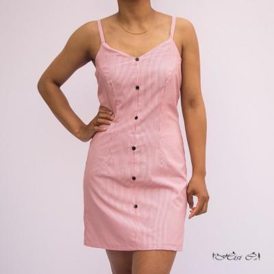 Stripe Short Buttoned Cute Dress