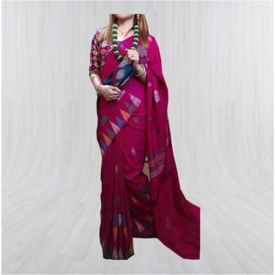 Silk Dhaka Sari Maroon Color