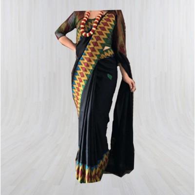 Black Silk Dhaka Sari with Double Border