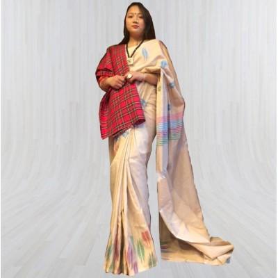 Cream Color Dhaka Sari