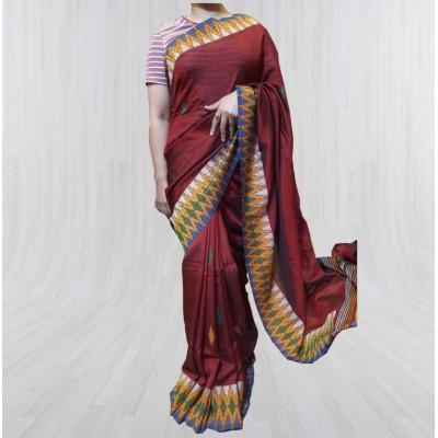 Maroon Silk Dhaka Sari with Double Border