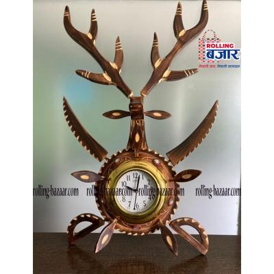 Deer Horn Wooden Clock
