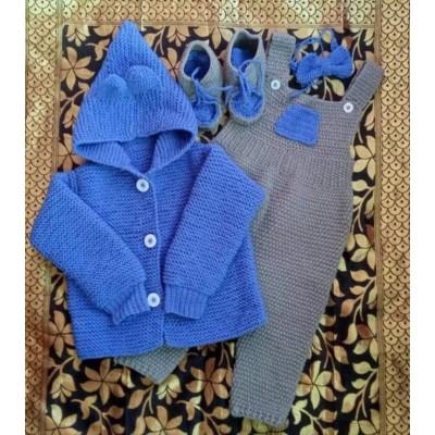 Crocheted woolen romper set