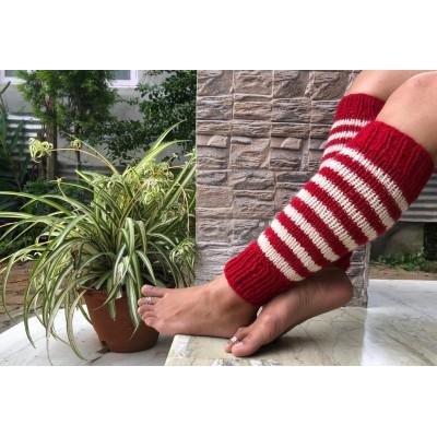 Red/white Woolen Leg Warmer For Women