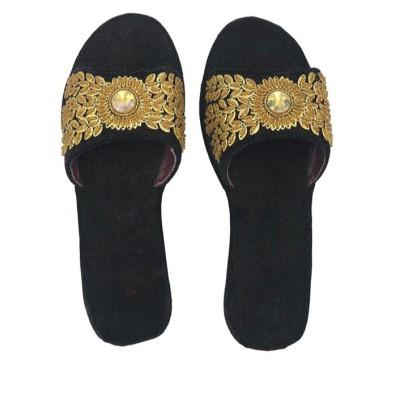 Black Golden Open Slippper
