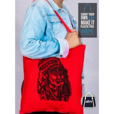 Multi Purpose Tote Bag Red with Kumari Print