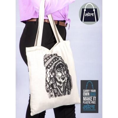 Multi Purpose Tote Bag White with Kumari Print