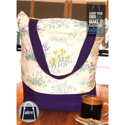 Multi Purpose Tote Bag (Floral and Purple Base)
