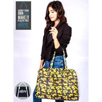Multi Purpose Tote Bag- Black Floral (Travel Bag)
