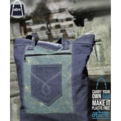 Multi Purpose Tote Bag- Blue Black Jeans
