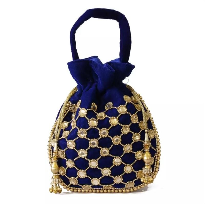 Blue/Golden Acrylic Stones Studded Pouch Bag