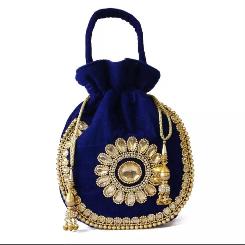 Blue/Golden Acrylic Stones Studded Floral Design Pouch Bag